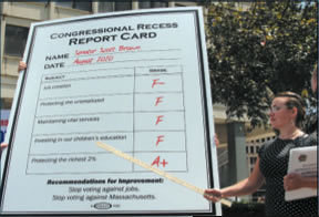 Image of report card. Senator Brown Gets a Failing Grade on Voting Record