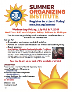 summer organizing institute flyer