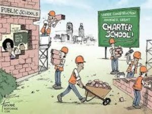 Political cartoon of charter school stealing bricks from public school