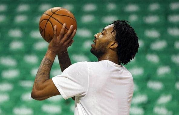 James Young takes a free throw shot