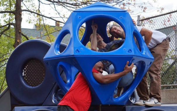 parents work together to rebuild playground