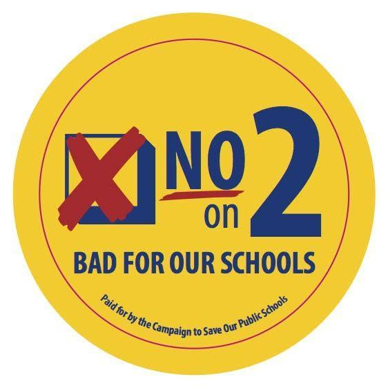 "Image of ""No on 2"" button"