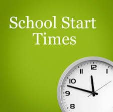 """image of clock with text """"school start times"""""""