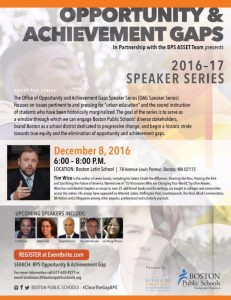 Office of Opportunity and Achievement Gaps Speaker Series: December 8 Event