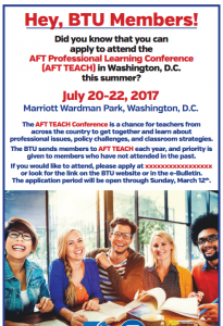 screenshot of aft teach flyer 2017