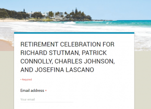 screenshot of retirement party form