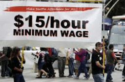 labor day 2015 $15 per hour minimum wage rally banner
