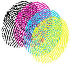 image of overlapping colorful fingerprints