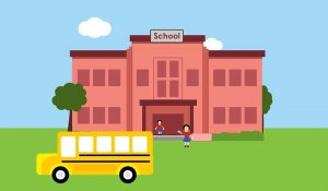School Icon with Bus
