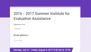 screenshot of summer eval institute registration page