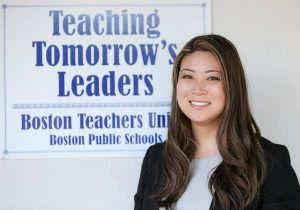 Image of Boston Teachers Union president Jessica Tang is seen at the BTU headquarters, Tuesday, June 20, 2017. Staff photo by Angela Rowlings.
