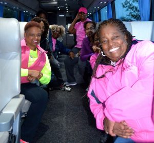 Brenda Chaney on BTU bus to Making Strides Walk