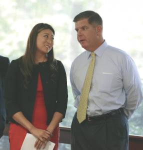 Mayor Martin Walsh (right) and BTU President Jessica Tang announced the new contract deal last week. Isabel Leon photo/Mayor's Office.