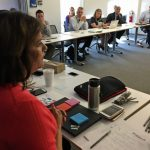 Sonia Gomez-Banrey at Thursday's meeting. (Max Larkin/WBUR)