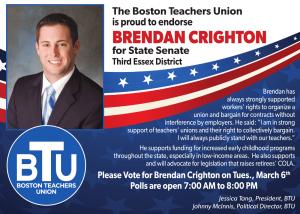 Brendan Creighton endorsement, seeking phone bank volunteers