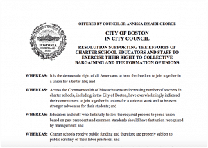Boston City Council: Charter School Teachers Have Right to Collective Bargaining and to Form a Union
