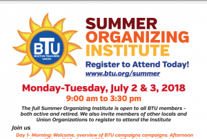 Image of BTU Summer Organizing Institute 2018 Flyer