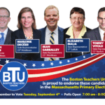 Headshots of BTU-endorsed candidates with blue and red images