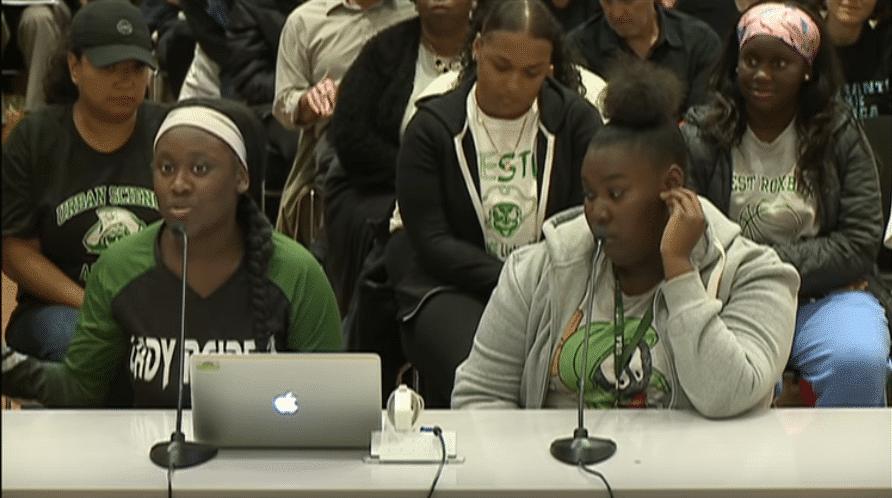 screenshot of students testifying
