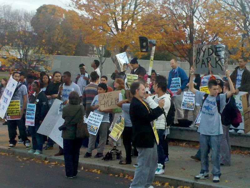 Hyde P ark Students Gather outside English HS to Protest